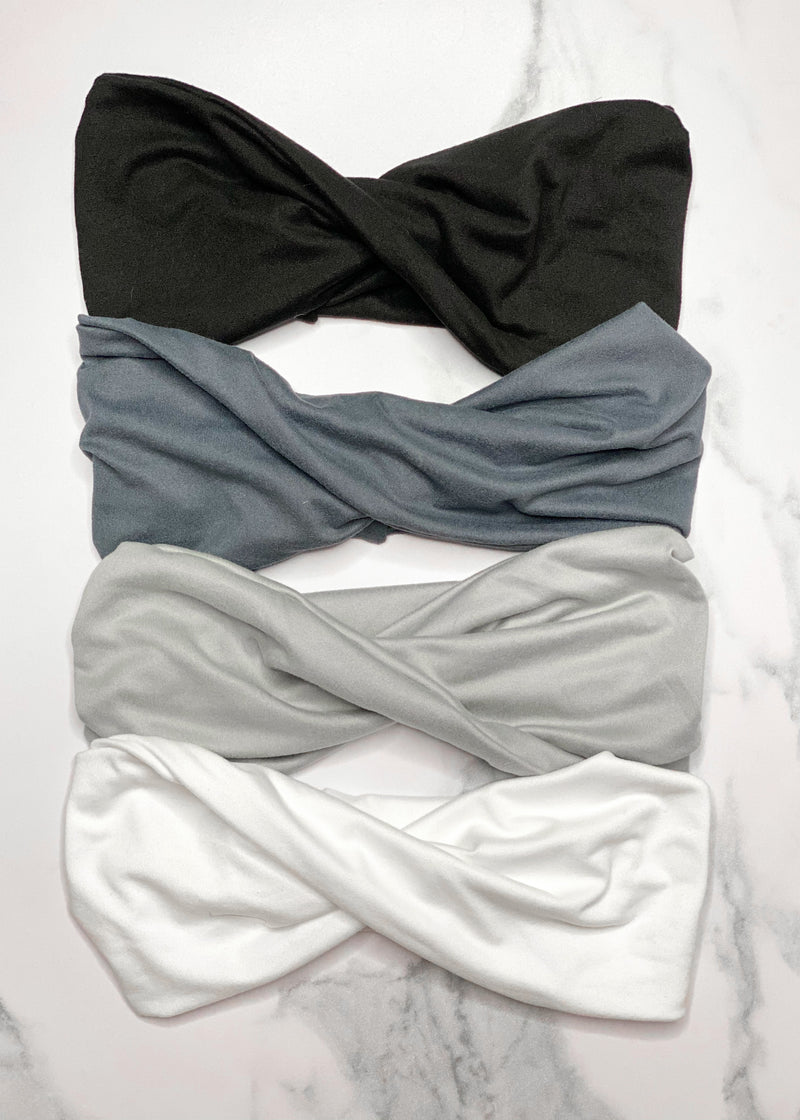 Neutral Bl Gray and White Twisted Headwraps