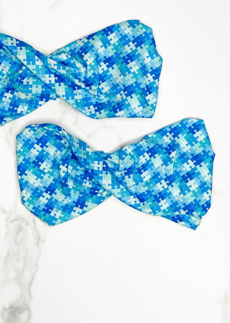 Blue Puzzle Pieces Twist Headband for Autism Awareness