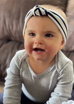 black and white striped knotted headband for babies