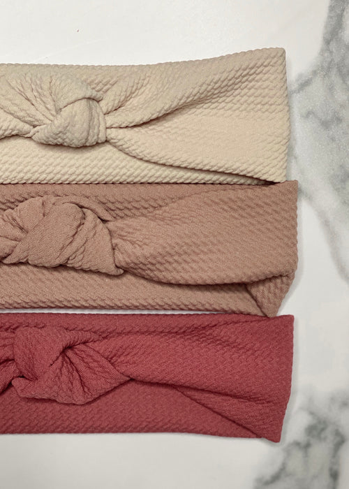 Textured Top Knot Headbands in Neutral Shades