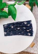 Navy Floral Extra Wide Yoga Headwrap