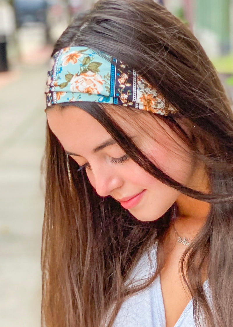Floral Stripe Extra Wide Yoga Headwrap
