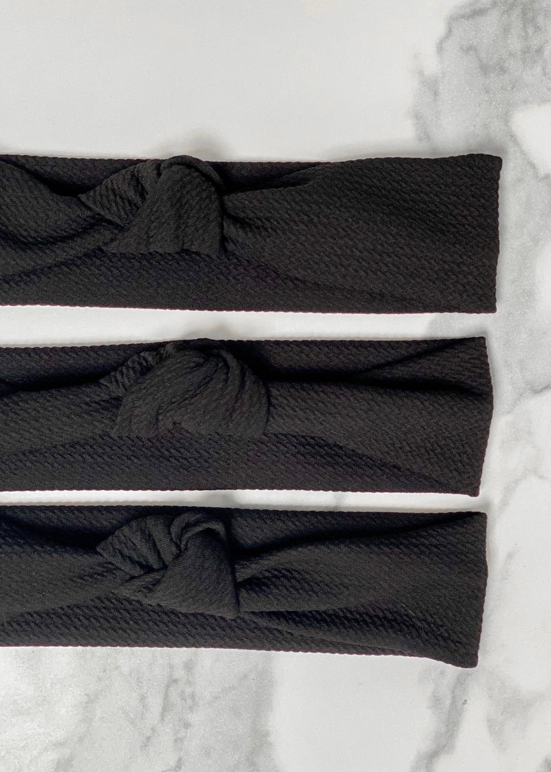 Black textured top knot headband