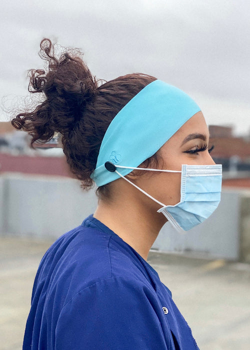 headband with buttons to hold on mask