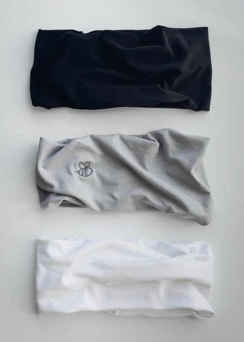 Black White and Gray Extra Wide No Slip Yoga Headbands