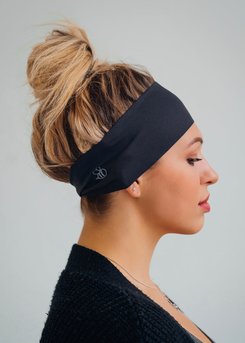 Slate gray antimicrobial yoga headband