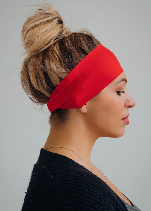 Red antimicrobial yoga headband