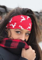 Red Reindeer Antimicrobial Yoga Headband