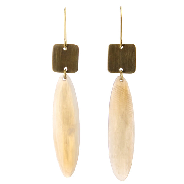 Tidore Linked Square and Oval Earring - Light Horn, Brass