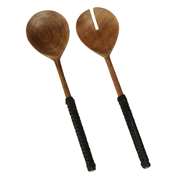 Burke Salad Servers, Wood & Black Leather