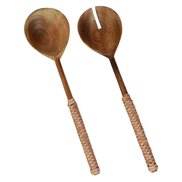 Burke Salad Servers, Wood & Natural Leather