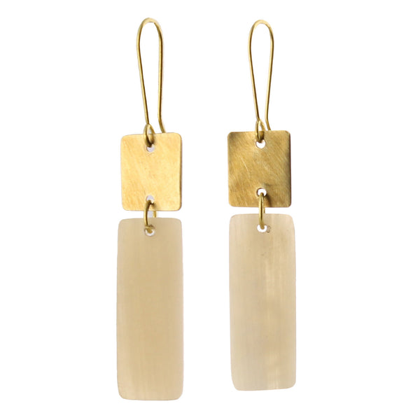 Tidore Linked Square and Rectangle Earring - Light Horn, Brass