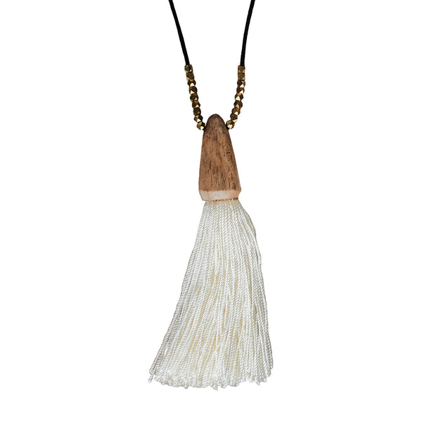 Tuall Tassel Pendant Necklace - Light Wood, Ivory