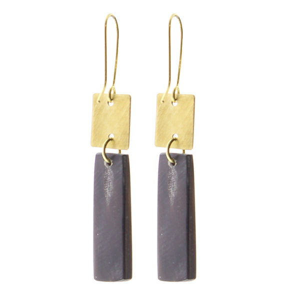 Tidore Linked Square and Rectangle Earring - Dark Horn, Brass
