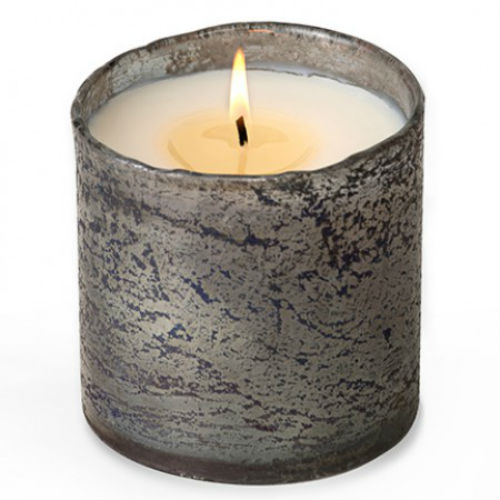 Grapefruit Pine Smoky Grey Glass Soy Candle