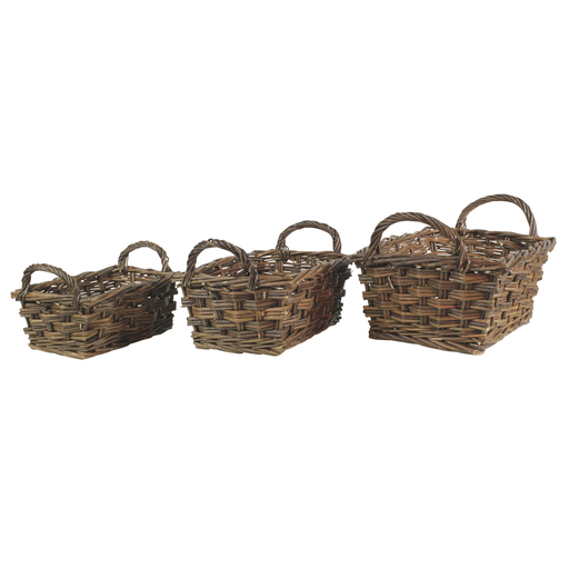 Willow Baskets Rectangle w/Handles - Set of 3