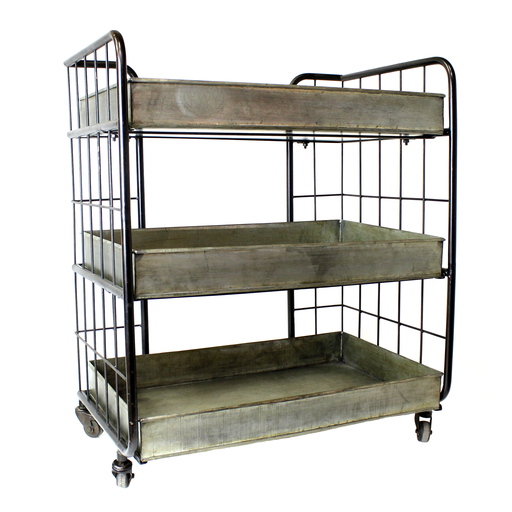 Fallbrook 3-Tray Tiered Iron Trolley