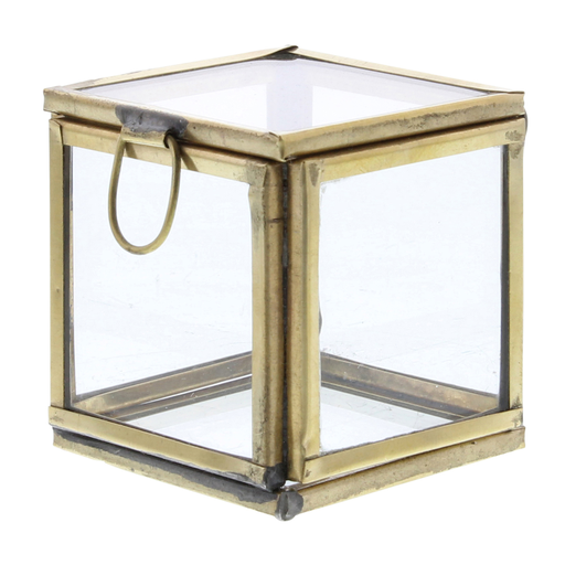 Pierre Demi Leaded Glass Box - Petite Brass