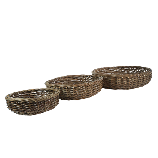 Willow Baskets Low Round - Set of 3