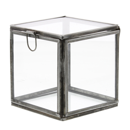 Pierre Demi Leaded Glass Box - Small Silver