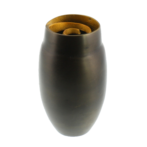 Annis Cast Metal Vase - Lrg - Black with Gold Rim