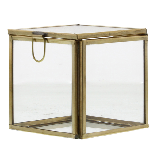 Pierre Demi Leaded Glass Box - Small Brass