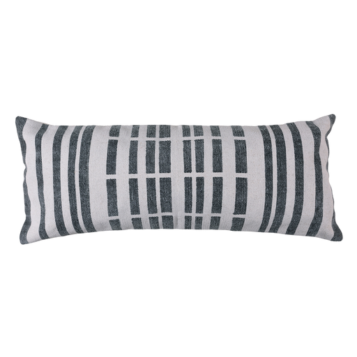 Block Print Lumbar Pillow 14x36 - Broken Stripe