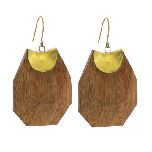 Topanga Earrings, Brass & Faceted Wood - Light