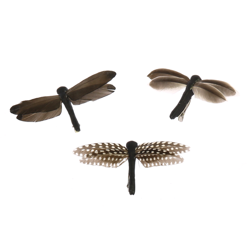 Dragonflies on Clips, Feather - Box of 3, Assorted