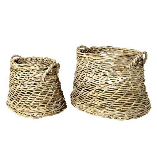 Coronado Rattan Oval Basket - Set of 2 - Rustique Grey