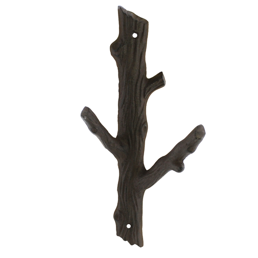 Faux Bois Cast Iron Wall Hook, Branch - Lrg - Brown