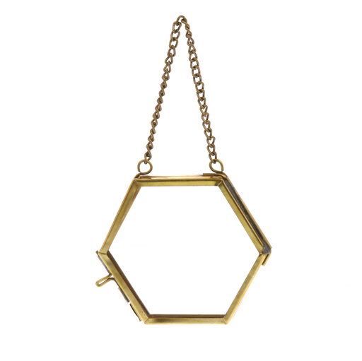 Monroe Ornament Frame - Hexagon - Brass