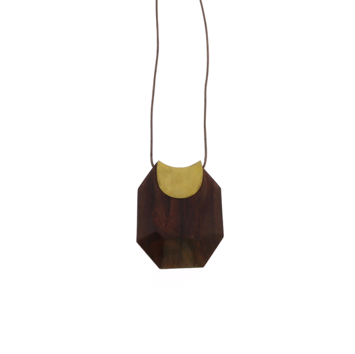 Topanga Pendant, Brass & Faceted Woodp Dark