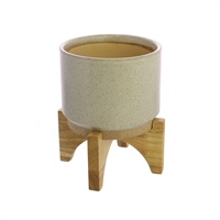 Ames Cachepot, Ceramic with Wood - Sm - White, Natural