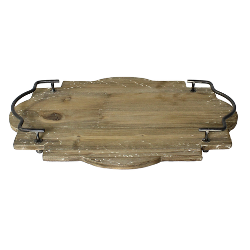 Pisco Wood Tray with Metal Handles - Lrg