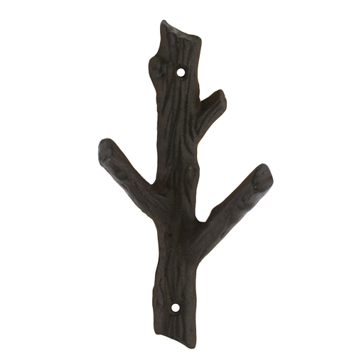 Faux Bois Cast Iron Wall Hook, Branch - Sm - Brown