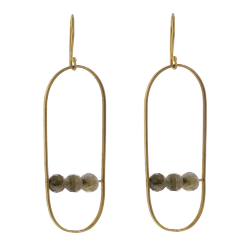 Vivien Capsule Earrings, Brass - Labadorite