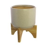 Ames Cachepot, Ceramic with Wood - Lrg - White, Natural