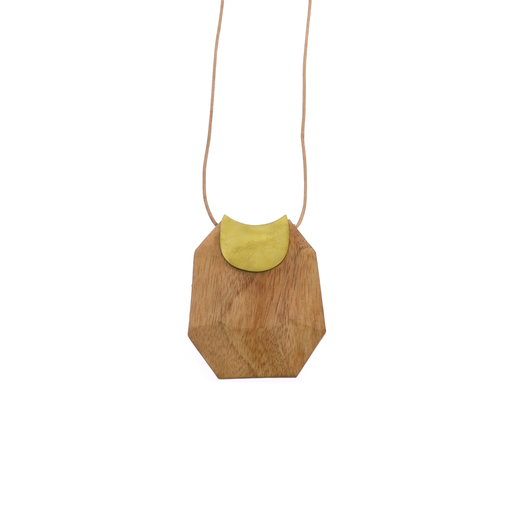 Topanga Pendant, Brass & Faceted Woodp - Light