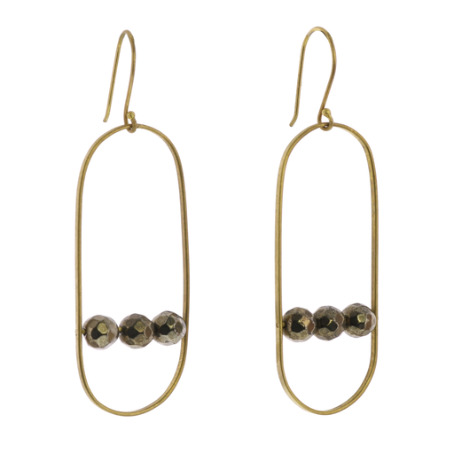 Vivien Capsule Earrings, Brass - Pyrite