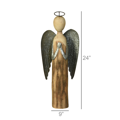 Angel at Prayer, Wood & Metal - Lrg