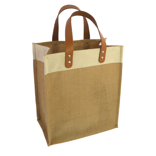 UptownTote with Leather Handles - Jute and Canvas