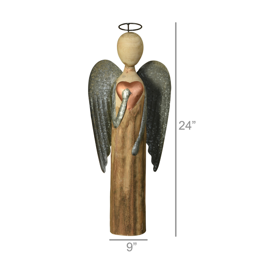 Angel with Heart, Wood & Metal - Lrg