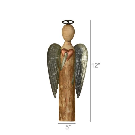 Angel with Heart, Wood & Metal - Sm