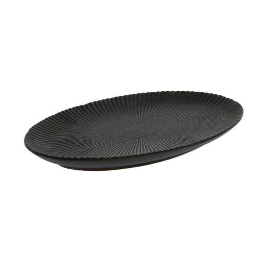 Dominic Ribbed Oval Plate, Ceramic - Med - Black