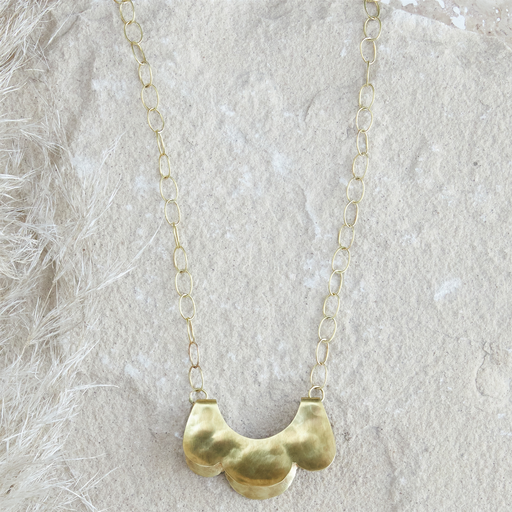 Yucca Necklace - Scalloped, Sm, Brass