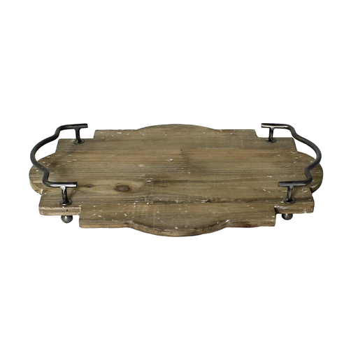 Pisco Wood Tray with Metal Handles - Sm