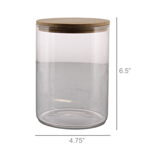 Finn Canister - Glass with Wood Lid - Lrg