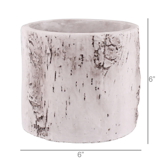 Faux Birch Cylinder, Cement - Med - White