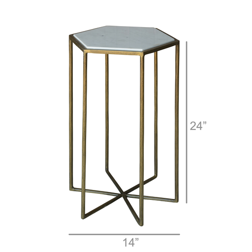 Apex Side Table, Brass & White Marble